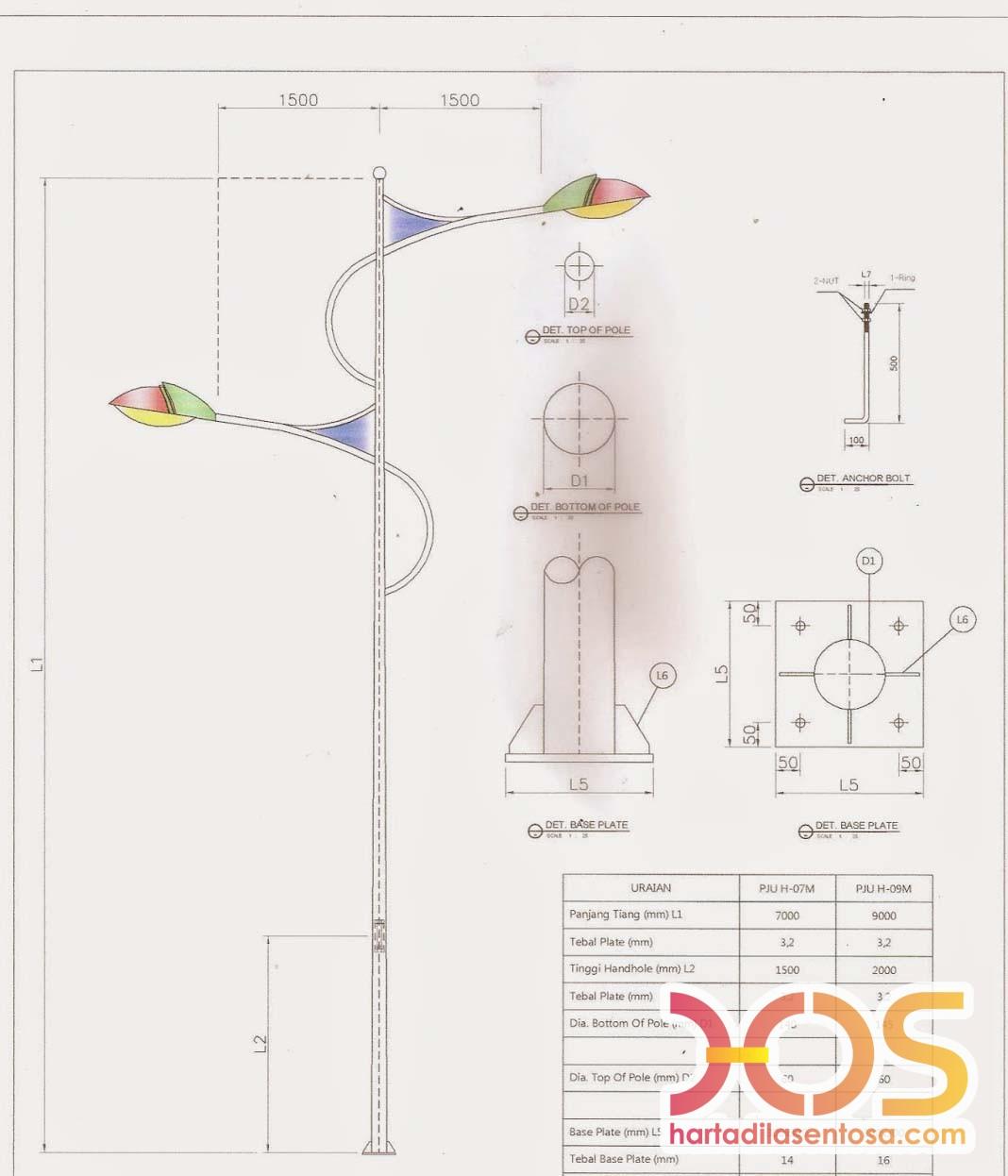 Desain Dan Ukuran Tiang Lampu Pju Antik Detail Autocad Tiang Lampu